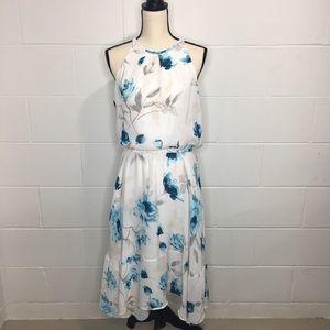 White House Black Market Floral Dress White/Teal